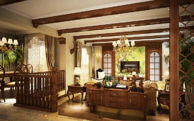 3D-living-room-ideas-American-country-style